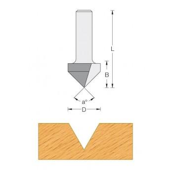 Fraise a rainurer V A 90°  Q8 MM - DIA 12.7 X LU 12.7