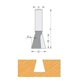Dovetail router bit Ø12,7 mm - Shank 8 mm