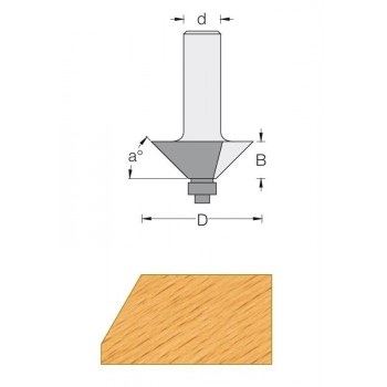 25° Chamfer router bit - Shank 8 mm
