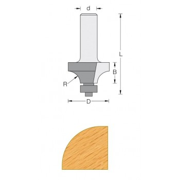 Fraise 1/4 rond sans plat+guide Q8 MM - DIA 38.1 - rayon 12.7
