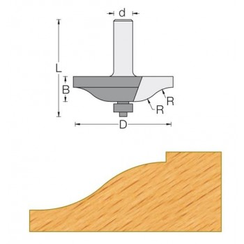Fresa horizontale para plafones - Cola 12 mm