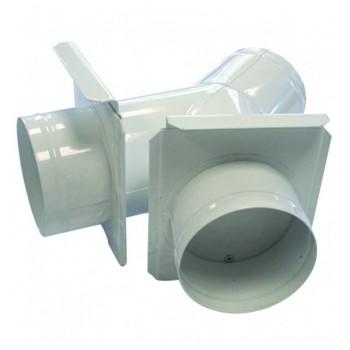 Culotte de bifurcation 100 mm avec tirette d'obturation + 2 sorties 100 mm