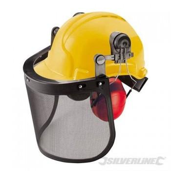 Casque visière de protection grillagée avec protège oreilles (type forestier)