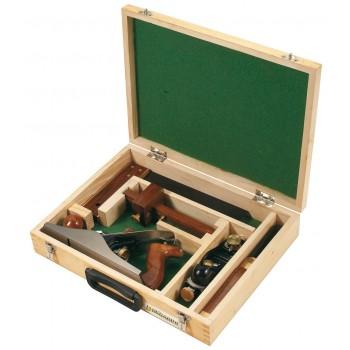 Coffret bois de 5 outils de traçage en bois de rose