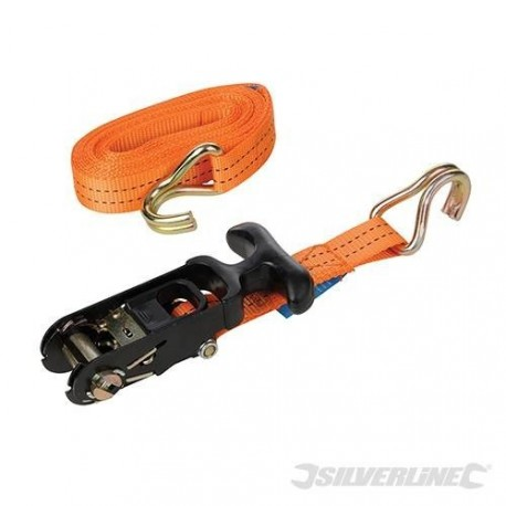 Strap tie-down to 1.5 tonne tensioner ratchet rubberised 4.5 m