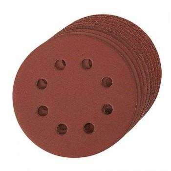 Disco abrasivo perforado 8 agujeros autoadherente 125 mm grano 80, 10 piezas