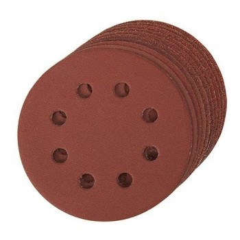 Disque abrasif velcro 8 trous 125 mm - Grain 80, le lot de 10