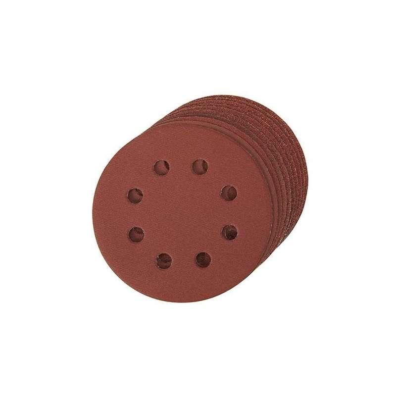 disque abrasif velcro 8 trous 125 mm grain 120 le lot de 10. Black Bedroom Furniture Sets. Home Design Ideas