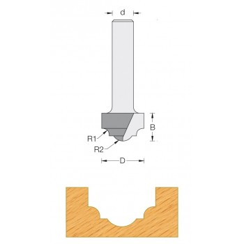 Decorative ogee router bit Ø 19 - Shank 8 mm