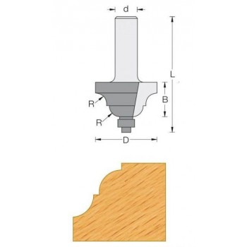 Fräser für oberfräse-Q8 - Einfassung, dekorativen Ø 42.8 - R6.4