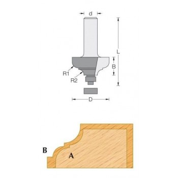 Classical ogee router bit Ø 28.7 - Shank 6 mm