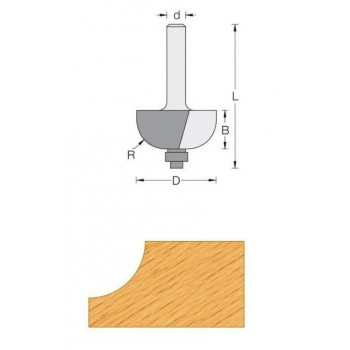 Cove router bit radius 6.35 mm - Shank 8 mm